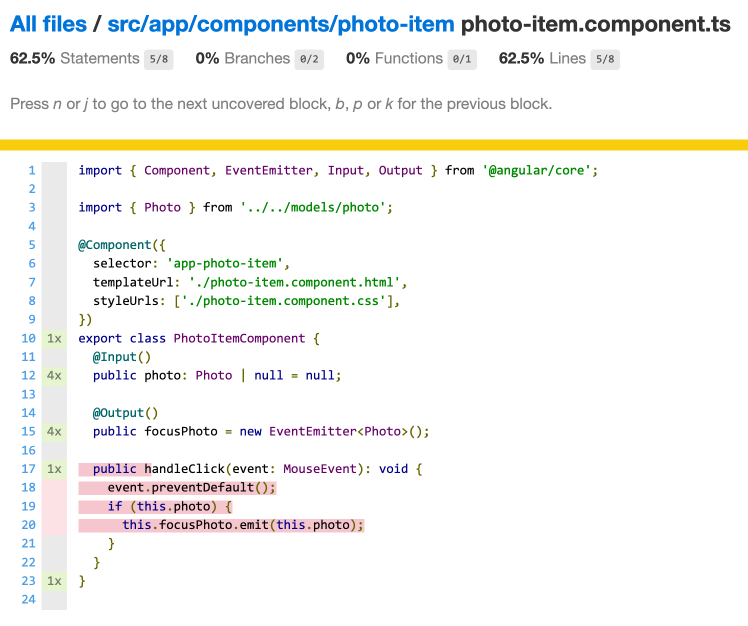 Code coverage report for photo-item.component.ts. The method handleClick is not called by the test.