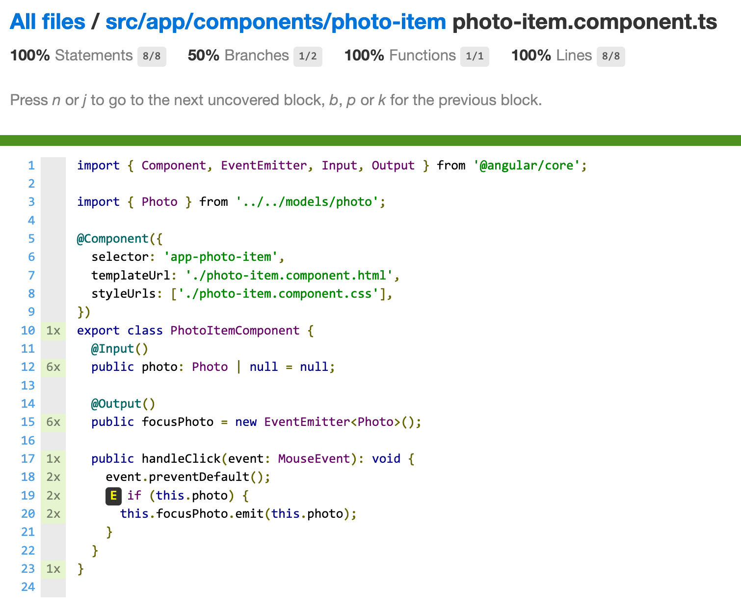Code coverage report for photo-item.component.ts. All statements, functions and lines are covered. There is one condition with two branches, one of which is not covered.